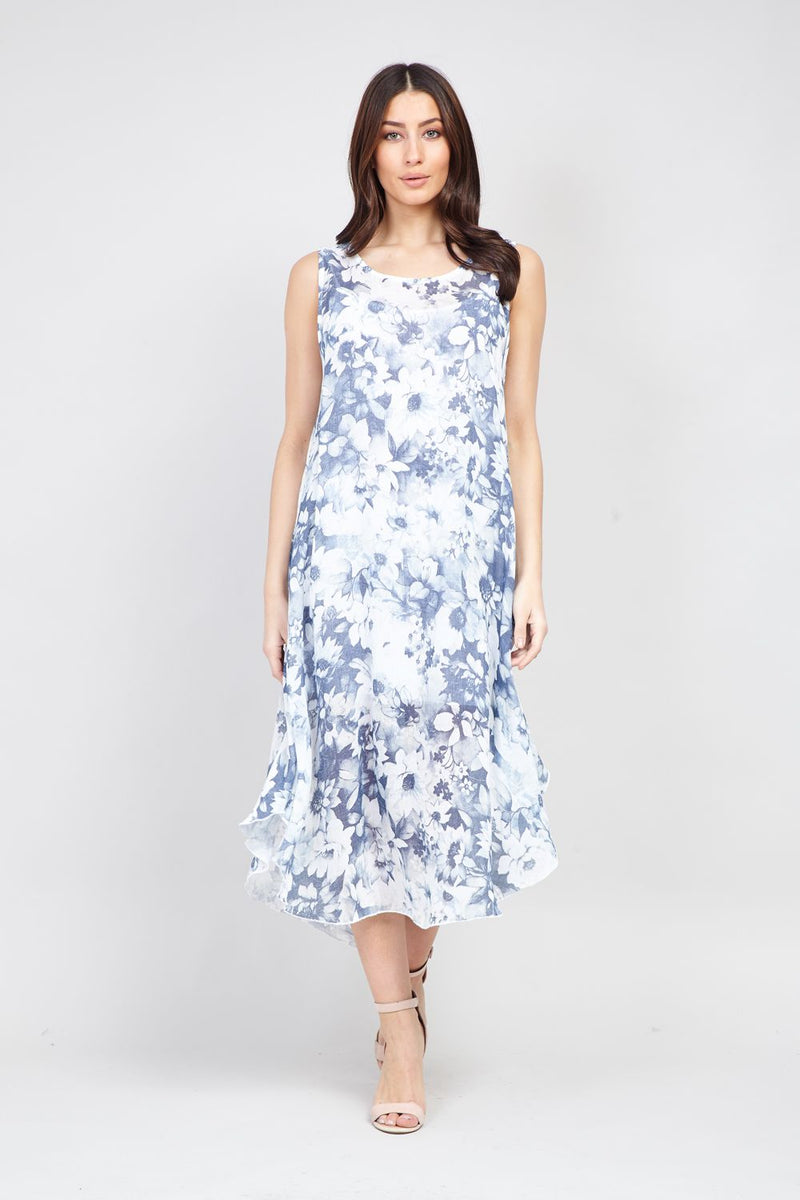 White | Blurred Floral Sun Dress