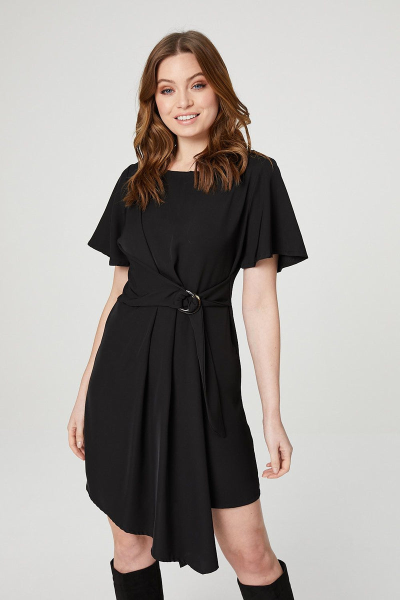 Black | Belt Detail Asymmetric Dress
