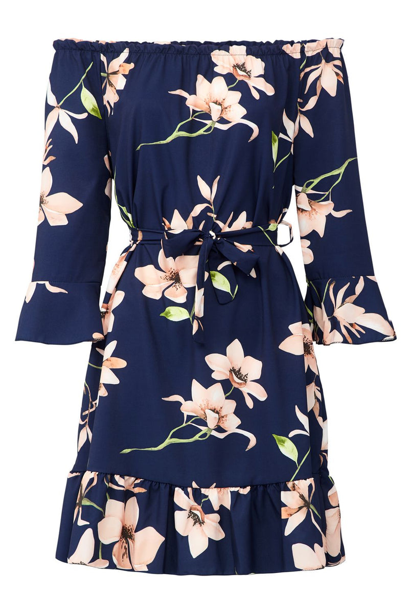 Navy | Floral Tie Waist Bardot Dress