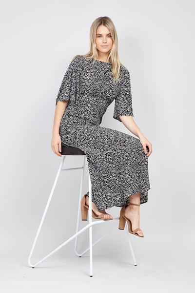 Black | Flared Sleeve Midi Dress
