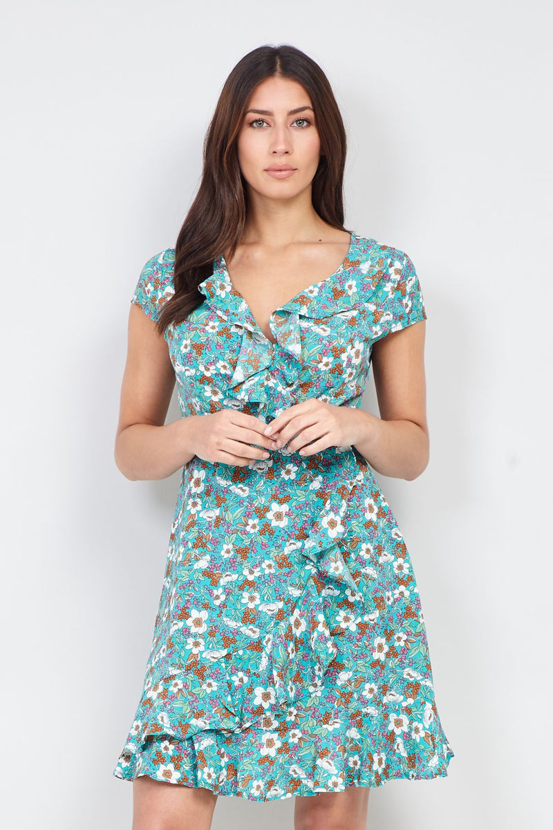 Green | Flirty Floral Wrap Dress | Izabel London