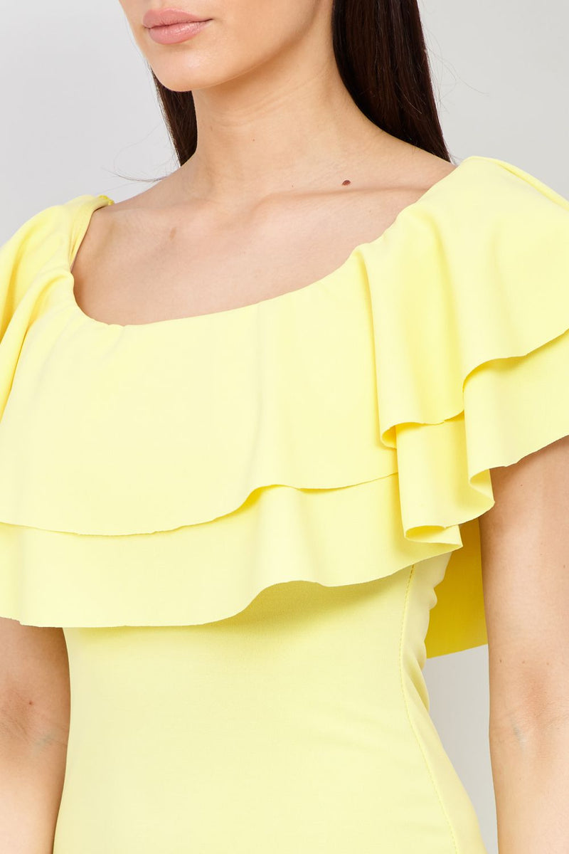 Yellow | Frill Top Bodycon Dress