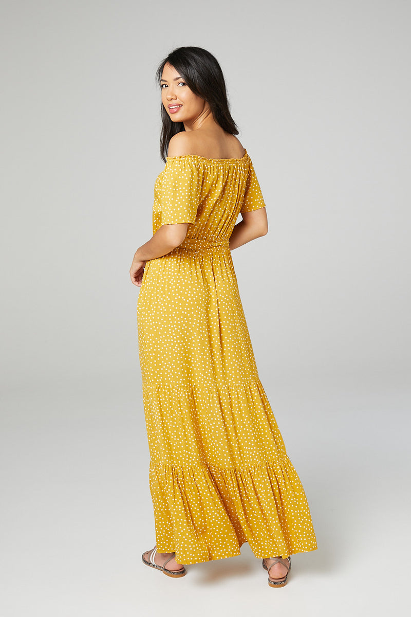Mustard | Polka Dot Bardot Maxi Dress