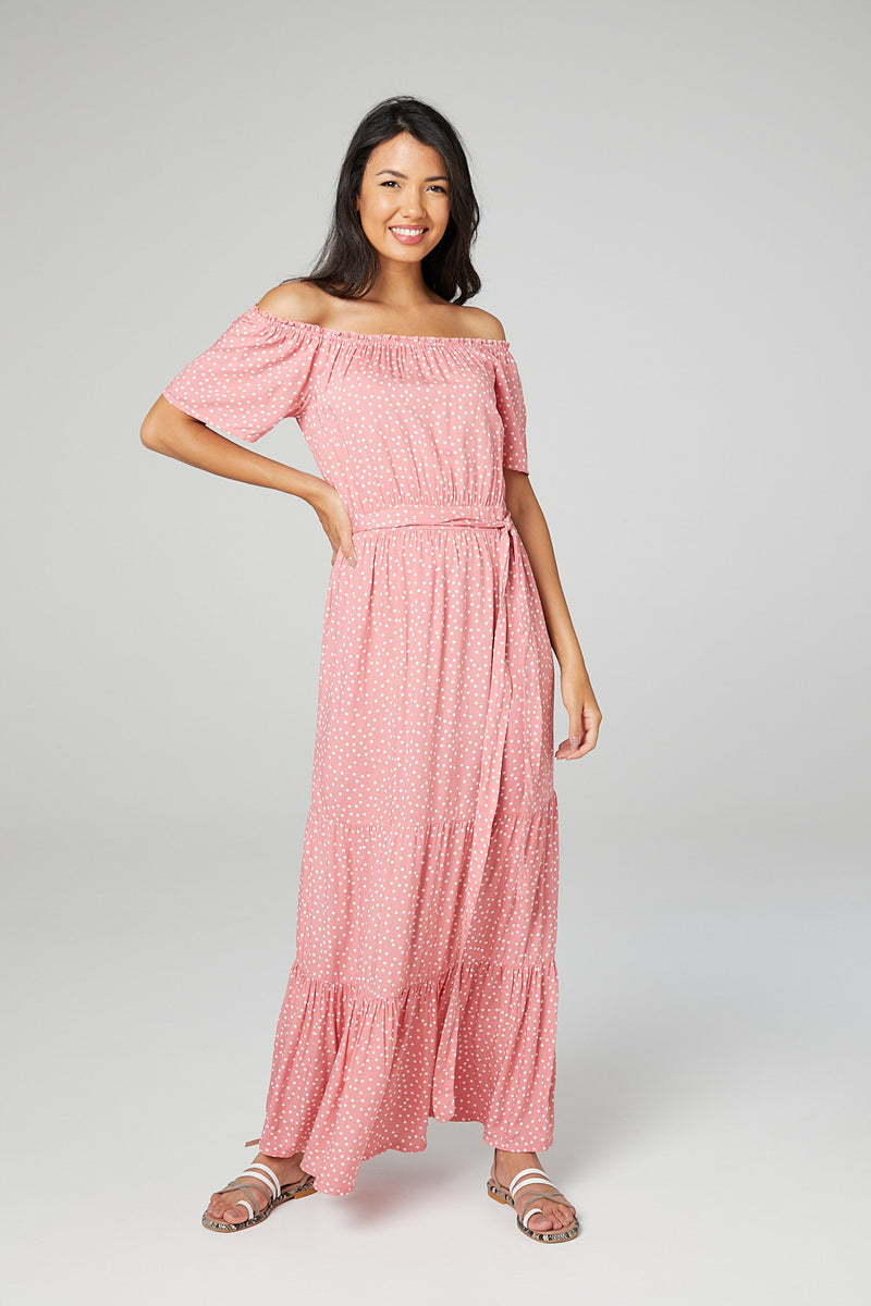 Pink | Polka Dot Bardot Maxi Dress