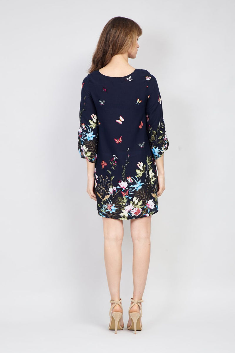 Navy | Floral Tie Neck Dress