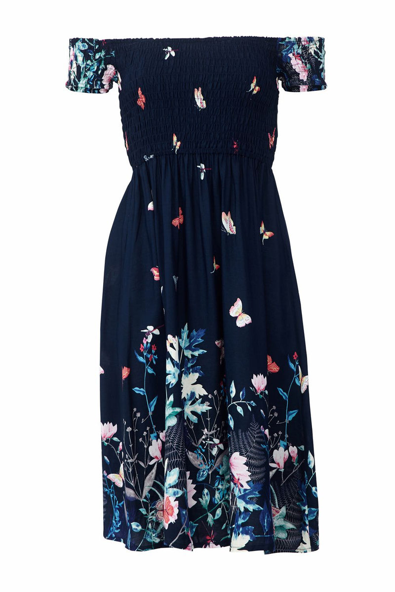 Navy | Floral Print Summer Bardot Dress