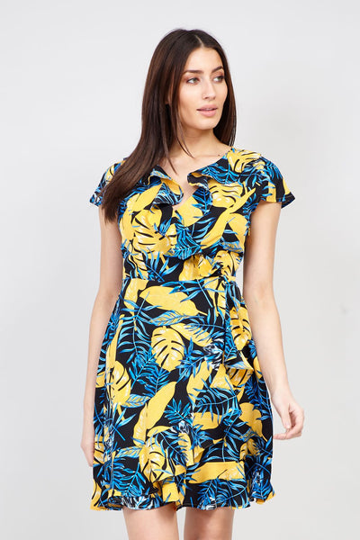 Tropical Print Wrap Dress - Izabel London