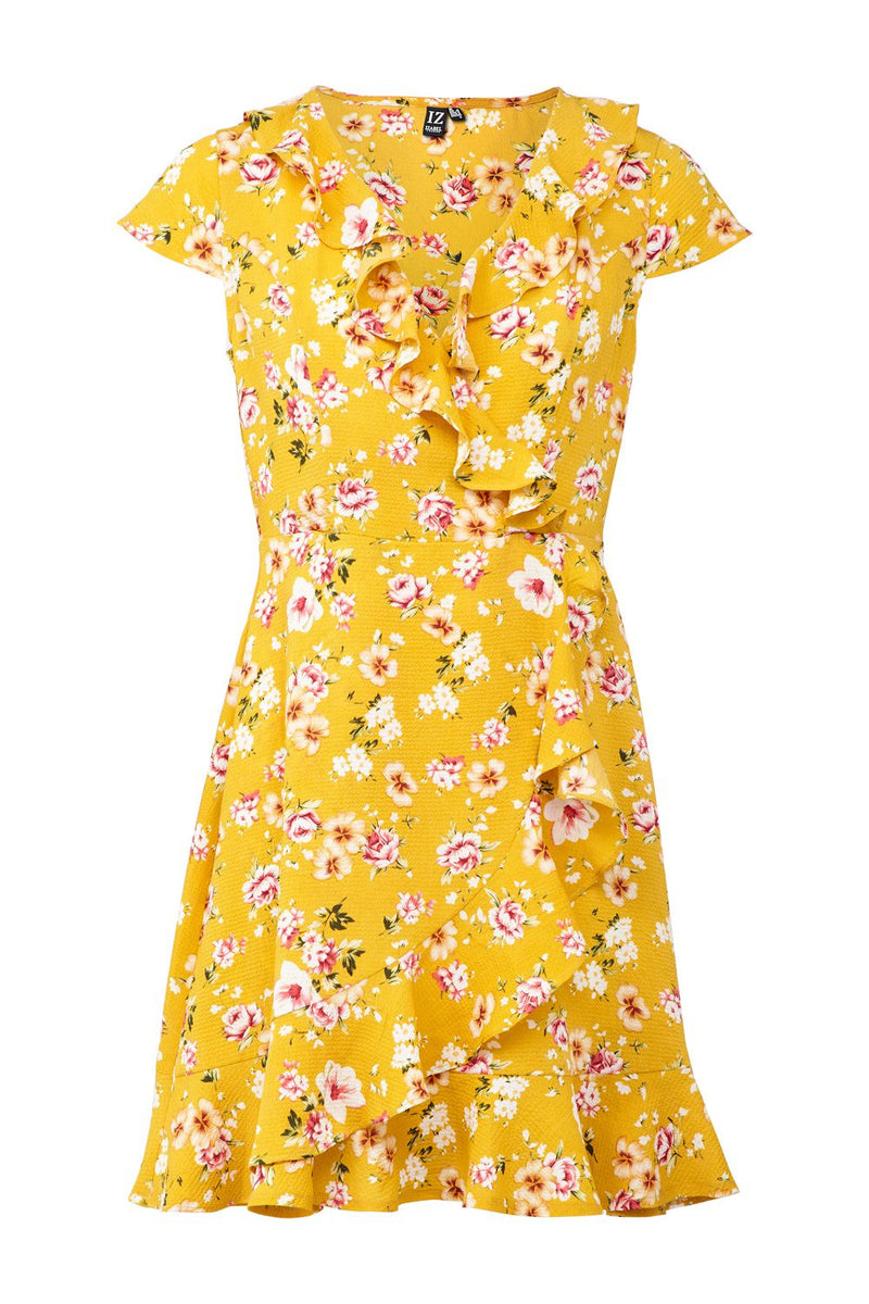 Yellow | Ditsy Floral Wrap Dress