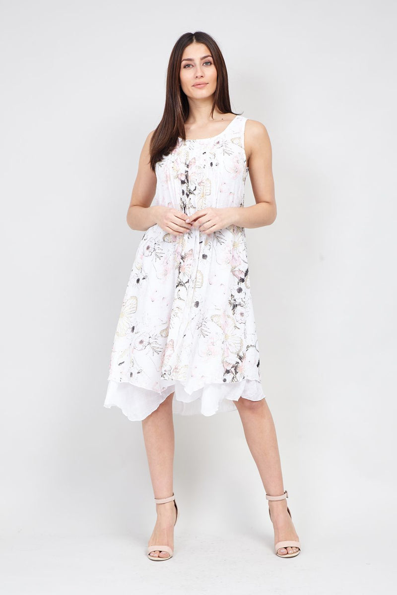 Pink | Botanical Print Hanky Hem Dress