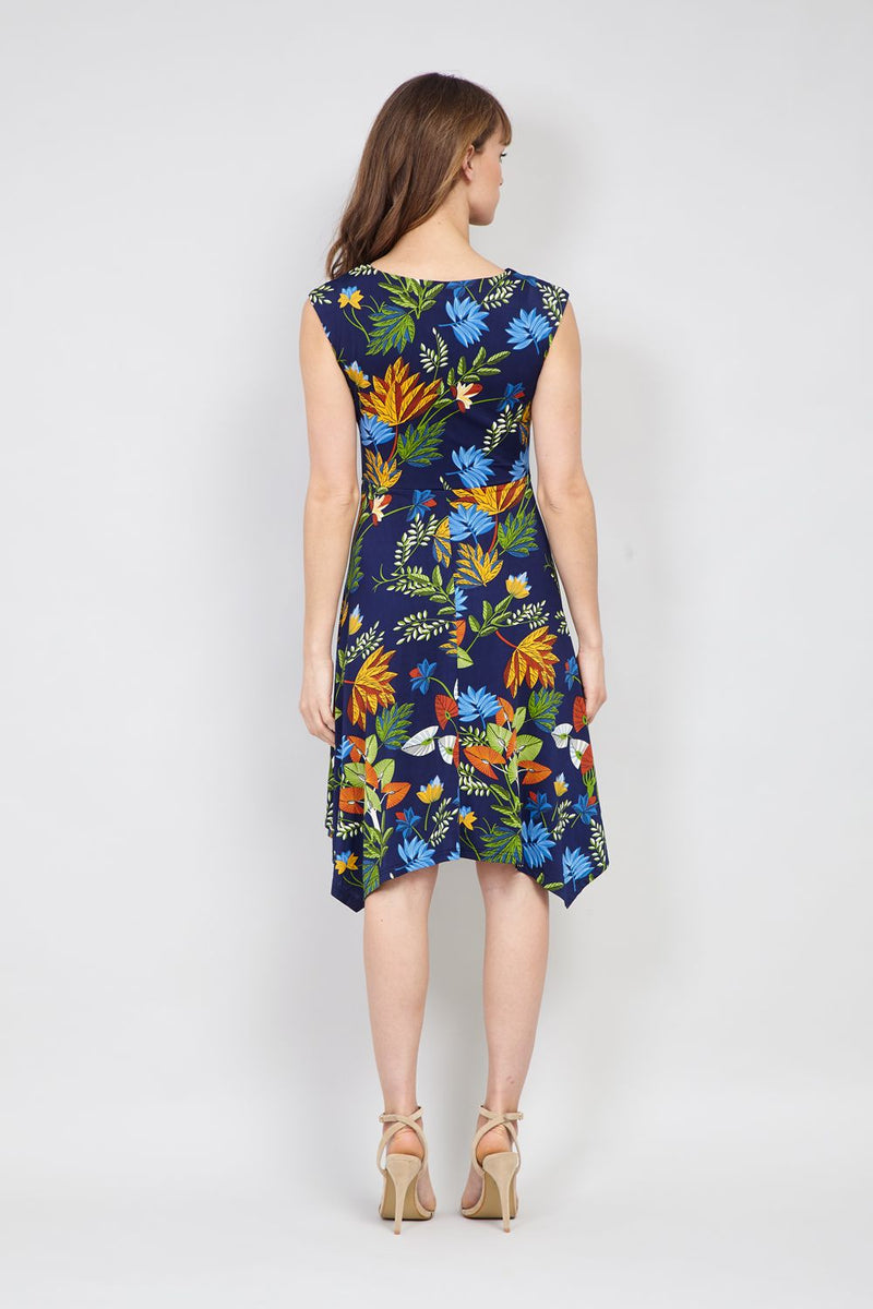Navy | Leaf Print Fit & Flare Dress