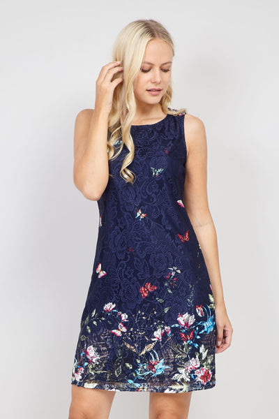 Navy | Butterfly Print Lace Shift Dress