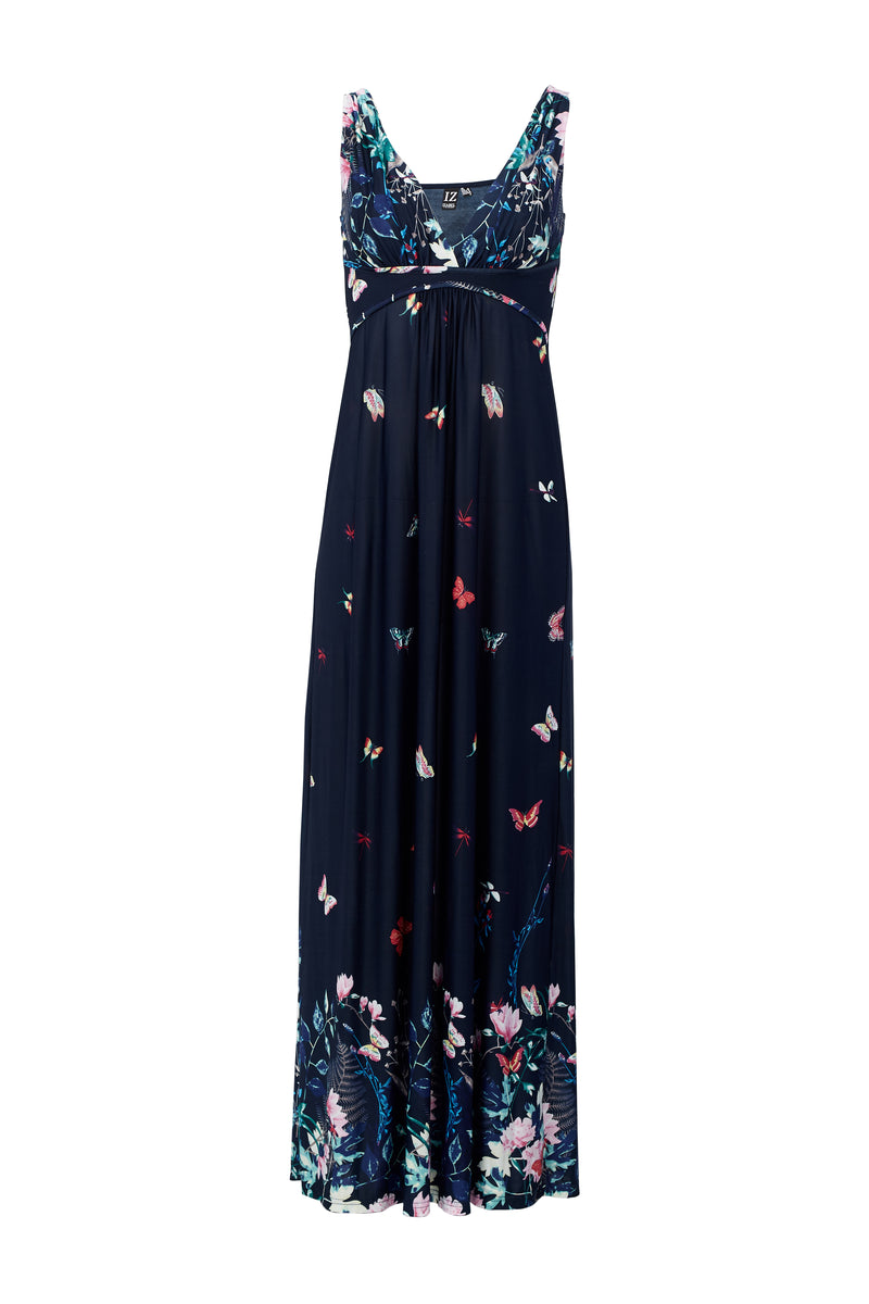 Navy | Butterfly Print Maxi Dress