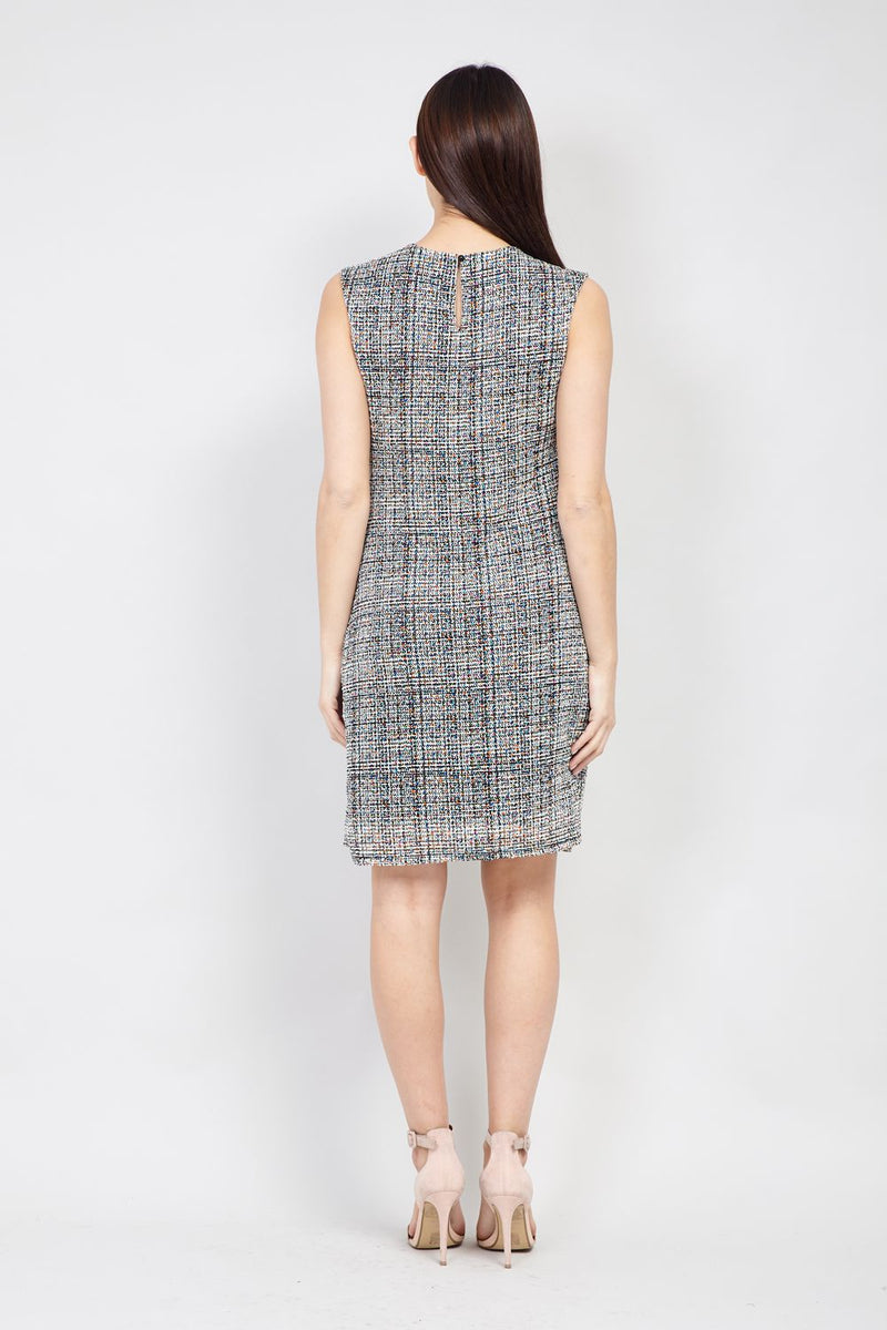 White | Tweed Print Shift Dress