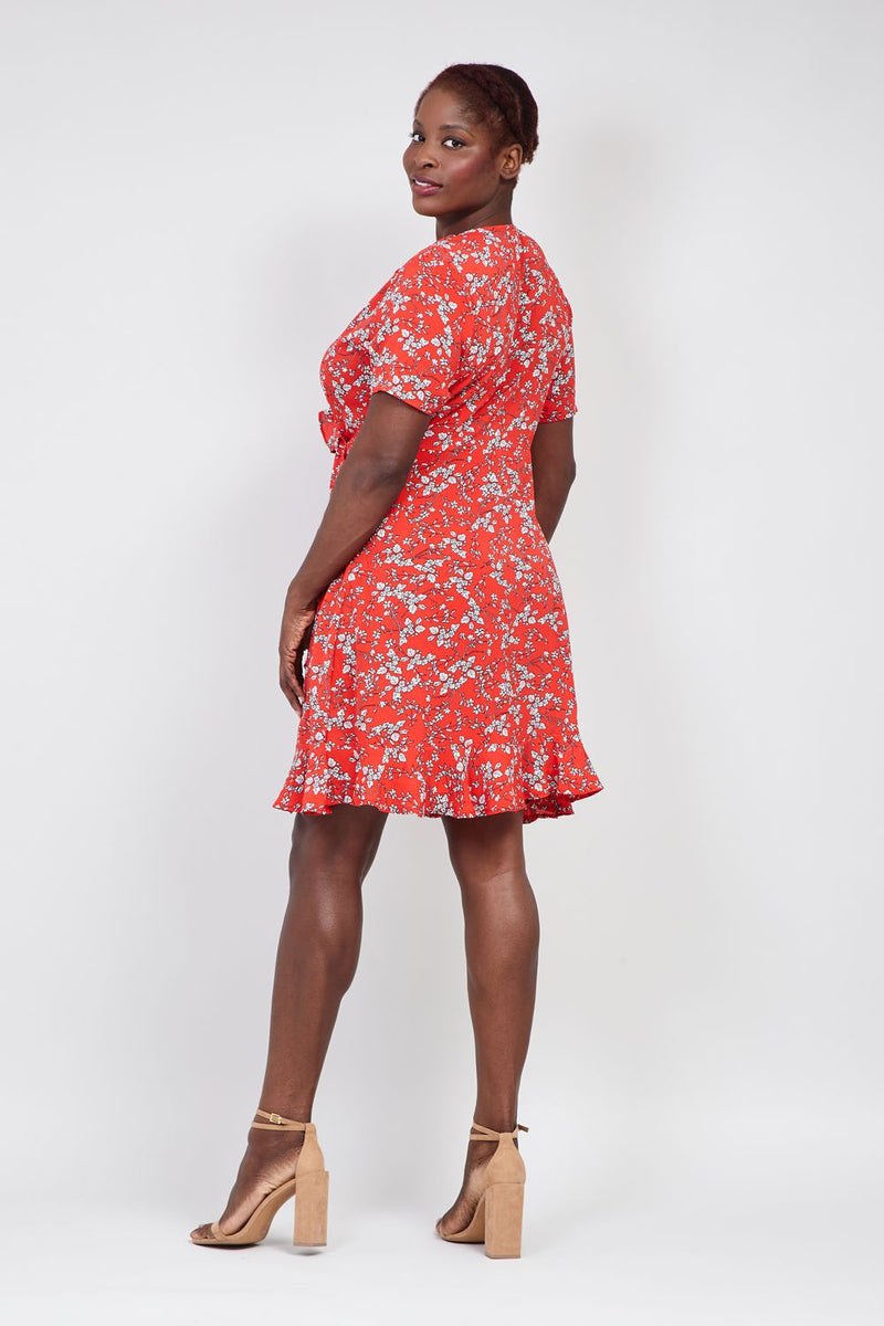 Red | Curve Ditsy Floral Wrap Dress