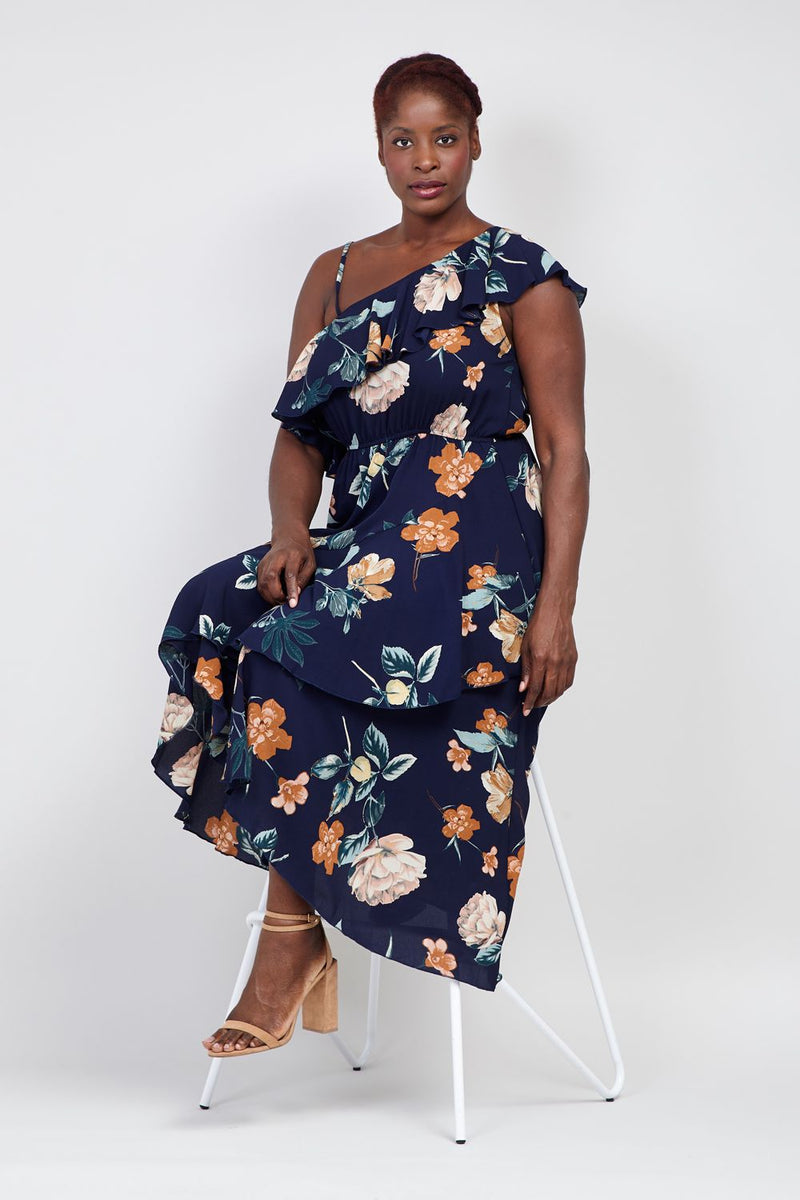 Navy | Curve One Shoulder Floral Maxi Dress
