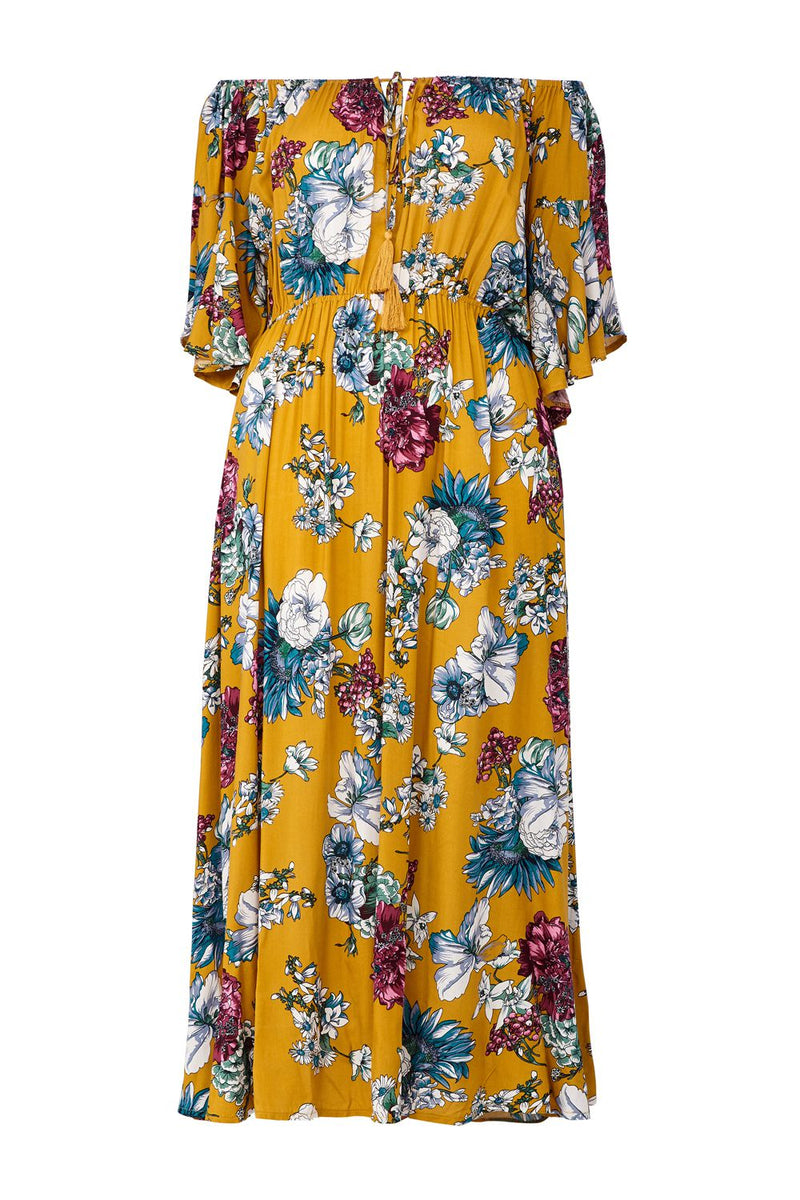 Mustard | Curve Off The Shoulder Floral Maxi Dress