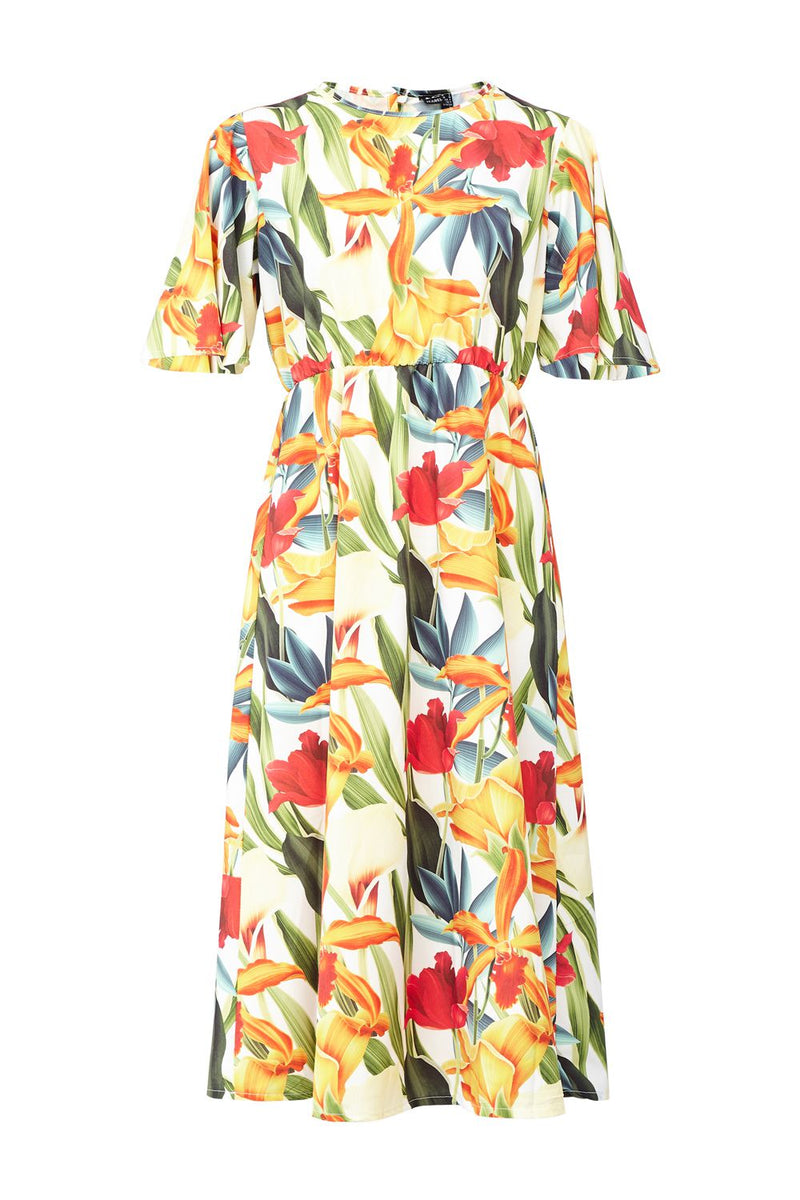 White | Tropical Print Smock Midi Dress