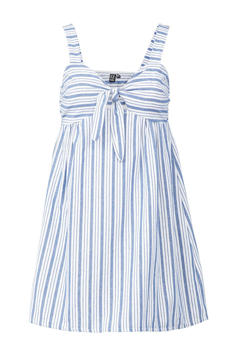 Navy | Striped Tie Front Dress
