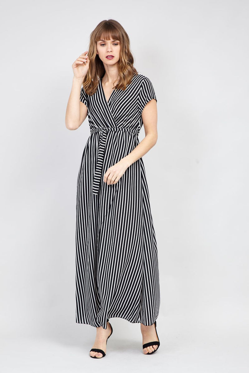 Black | Striped Wrap Front Maxi Dress | Izabel London