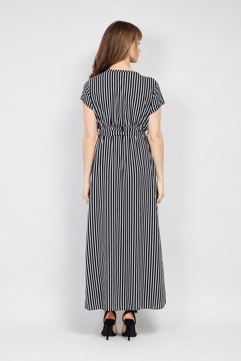 | Striped Wrap Front Maxi Dress | Izabel London