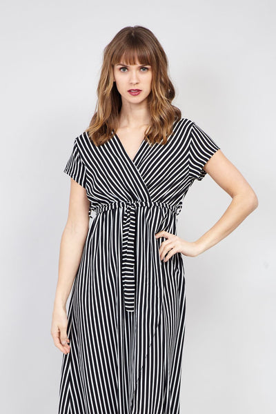 Striped Wrap Front Maxi Dress - Izabel London