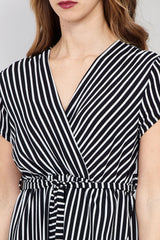 Black | Striped Wrap Front Maxi Dress