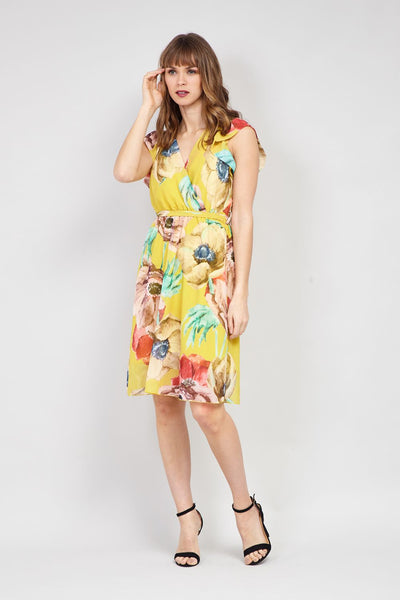 Yellow | Floral Wrap Front Fit & Flare Dress | Izabel London