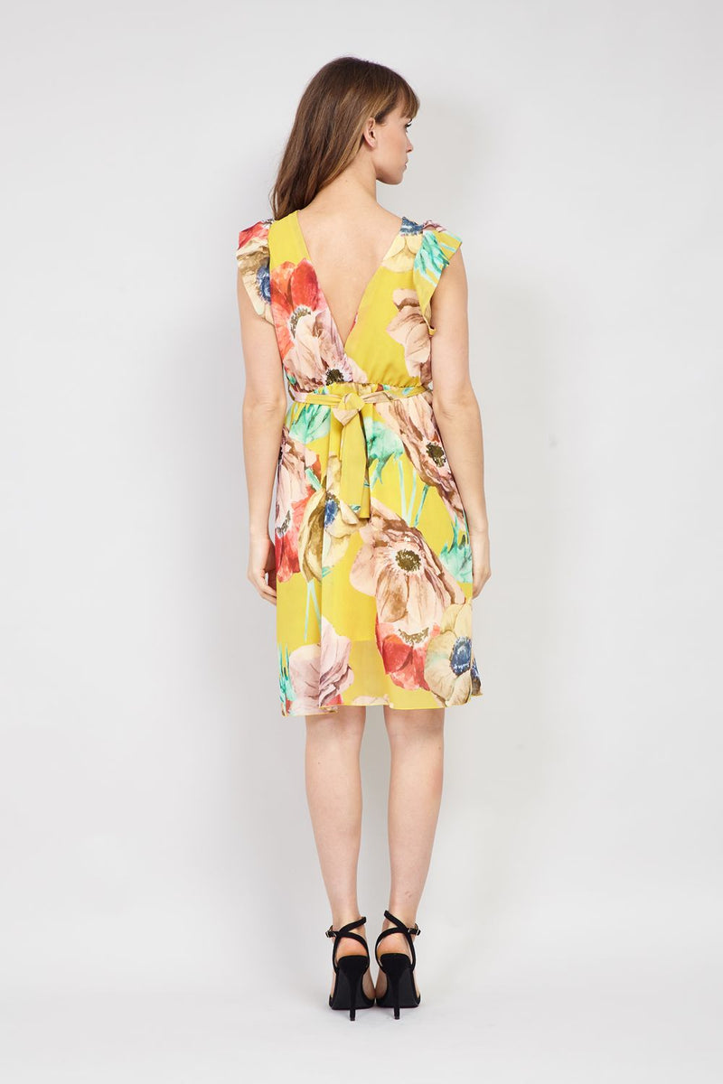 Floral Wrap Front Fit & Flare Dress - Izabel London