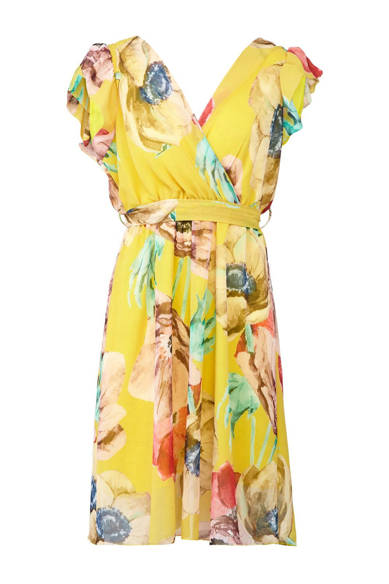 Yellow | Floral Wrap Front Fit & Flare Dress