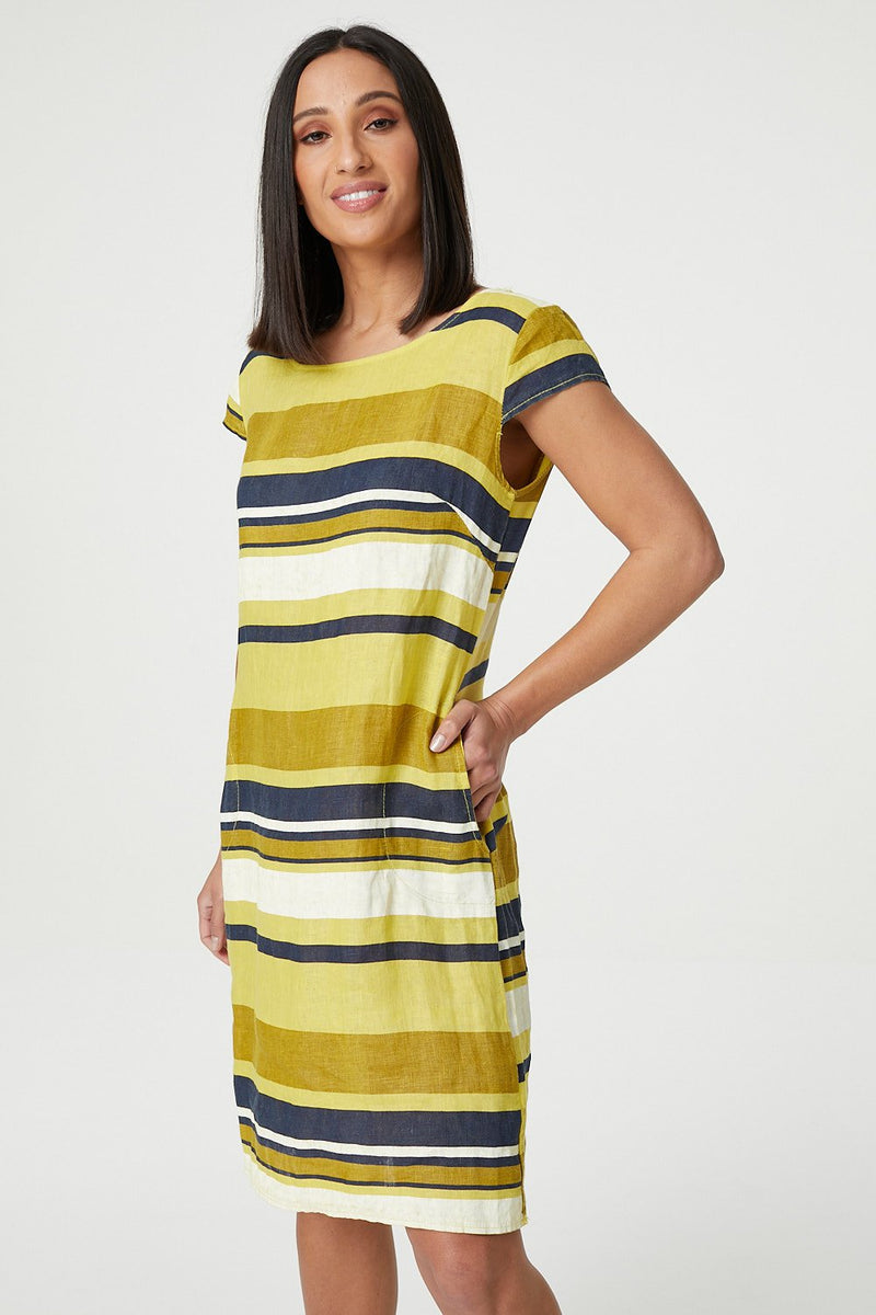 Yellow | Striped Shift Dress