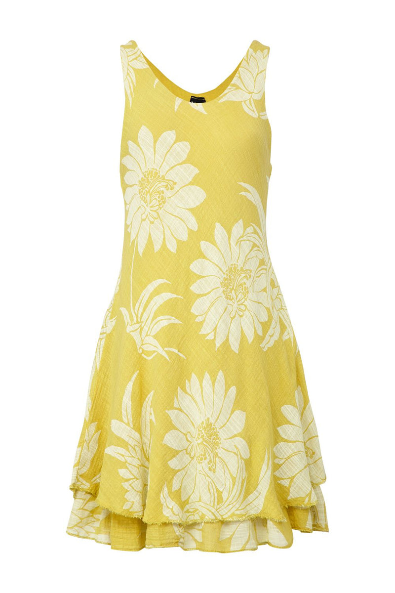 Yellow | Floral Layered Hem Dress