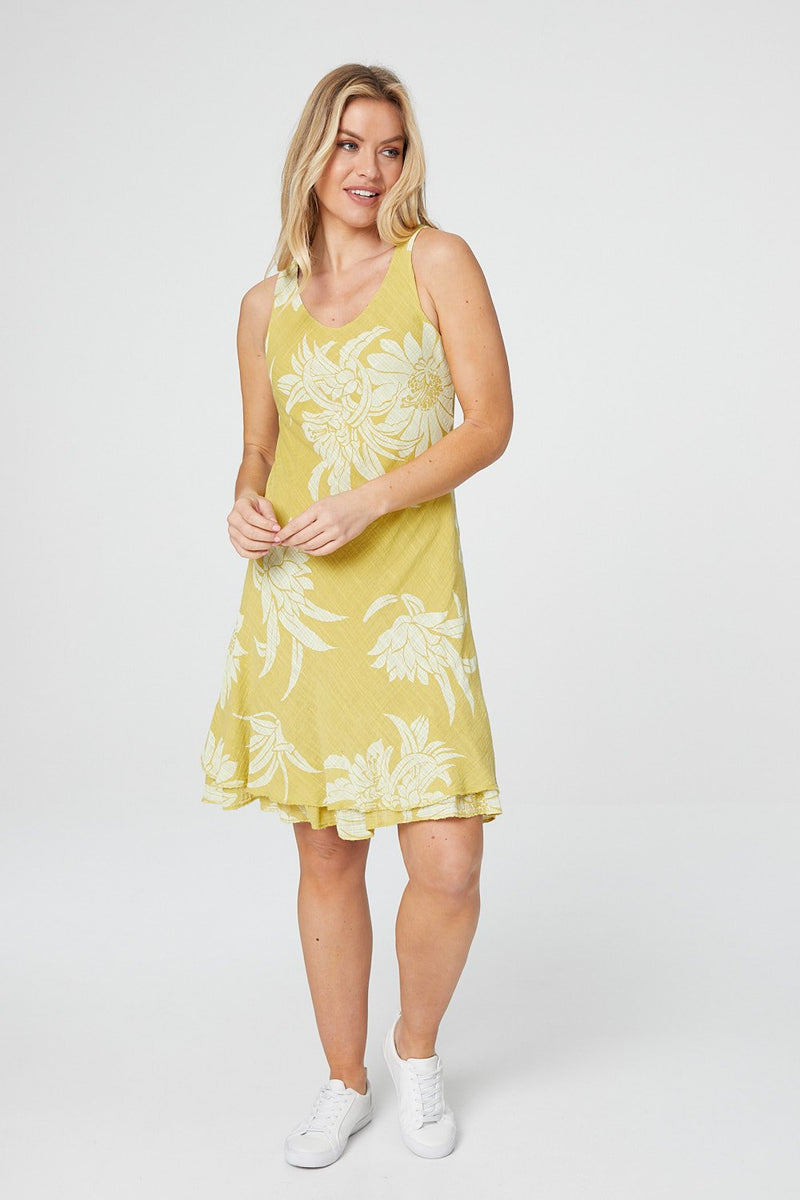 Mustard | Floral Layered Hem Dress