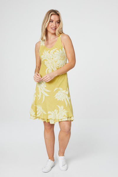 Floral Layered Hem Dress - Izabel London