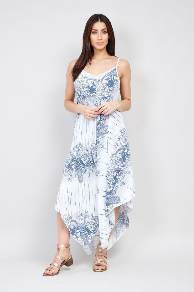 White | Floral Hanky Hem Maxi | Izabel London