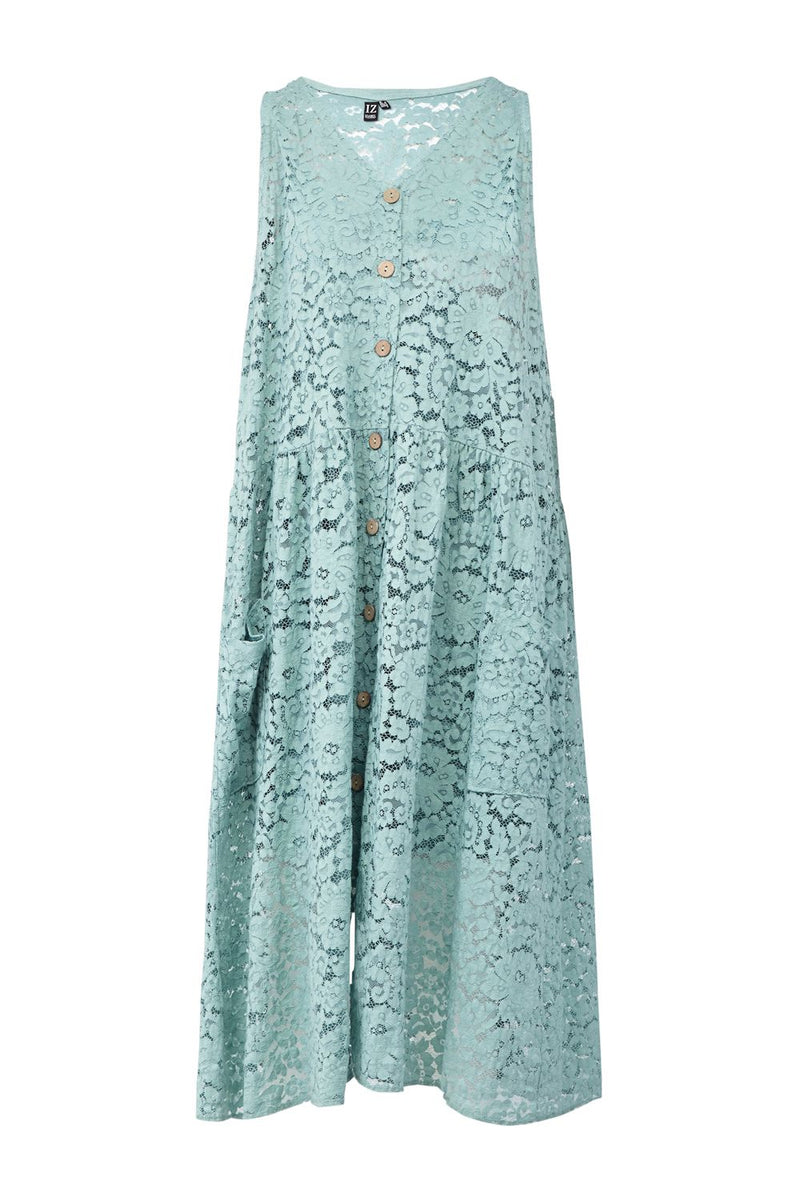 Green | Button Front Lace Midi Dress