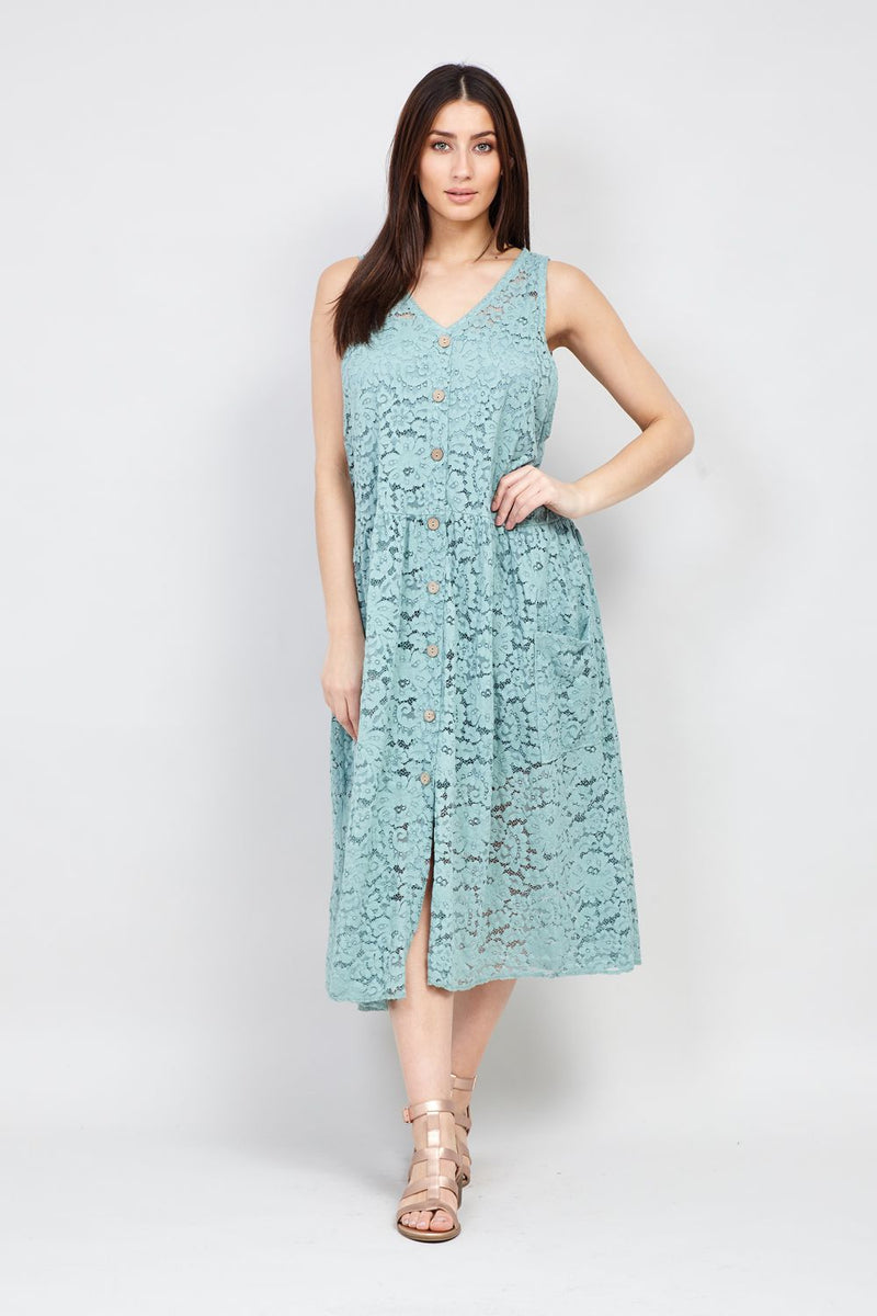 Green | Button Front Lace Midi Dress | Izabel London