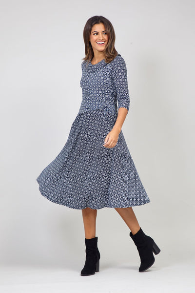 Navy | Geo Print Tea Dress
