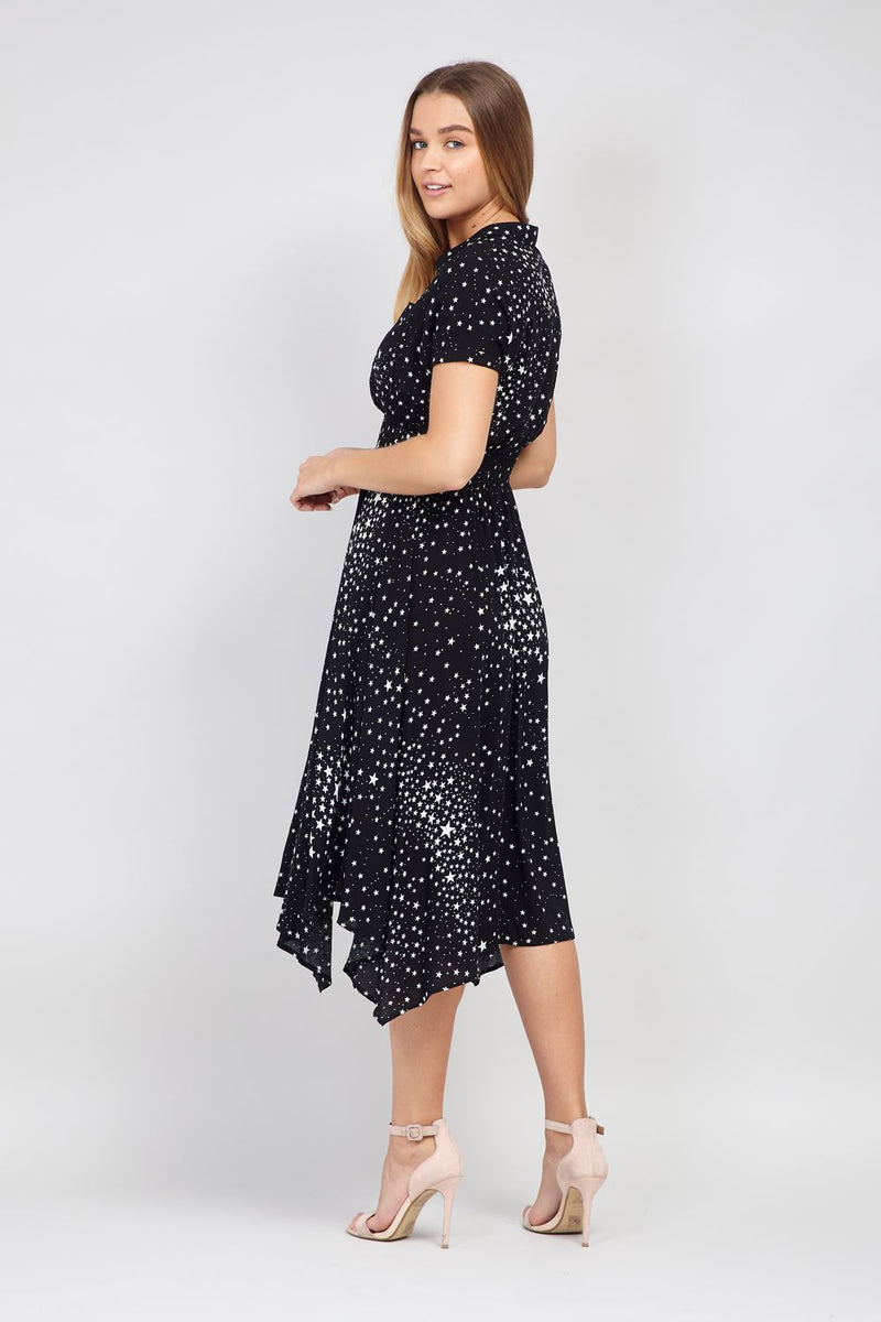 Black | Star Print Shirt Dress