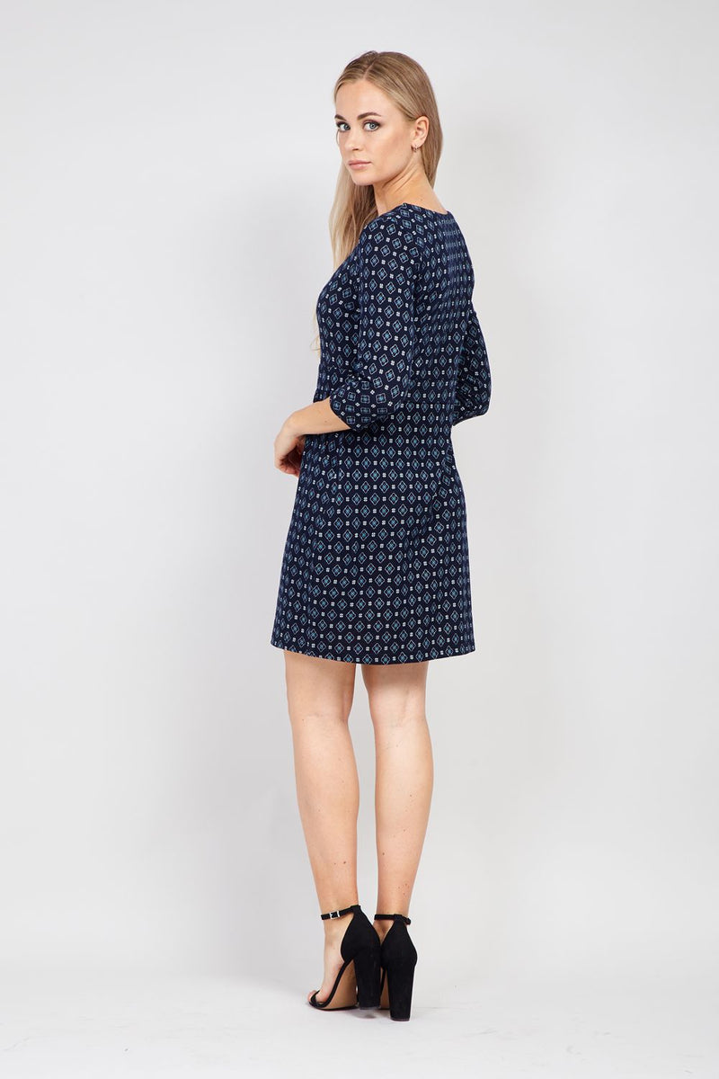 Navy | Geo Print Shift Dress