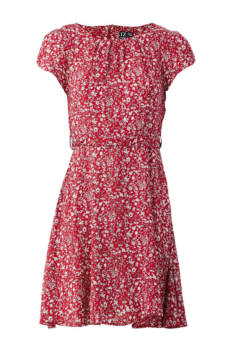 Red | Ditsy Floral Tea Dress
