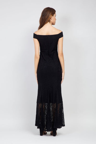 Black | Lace Fishtail Maxi Dress
