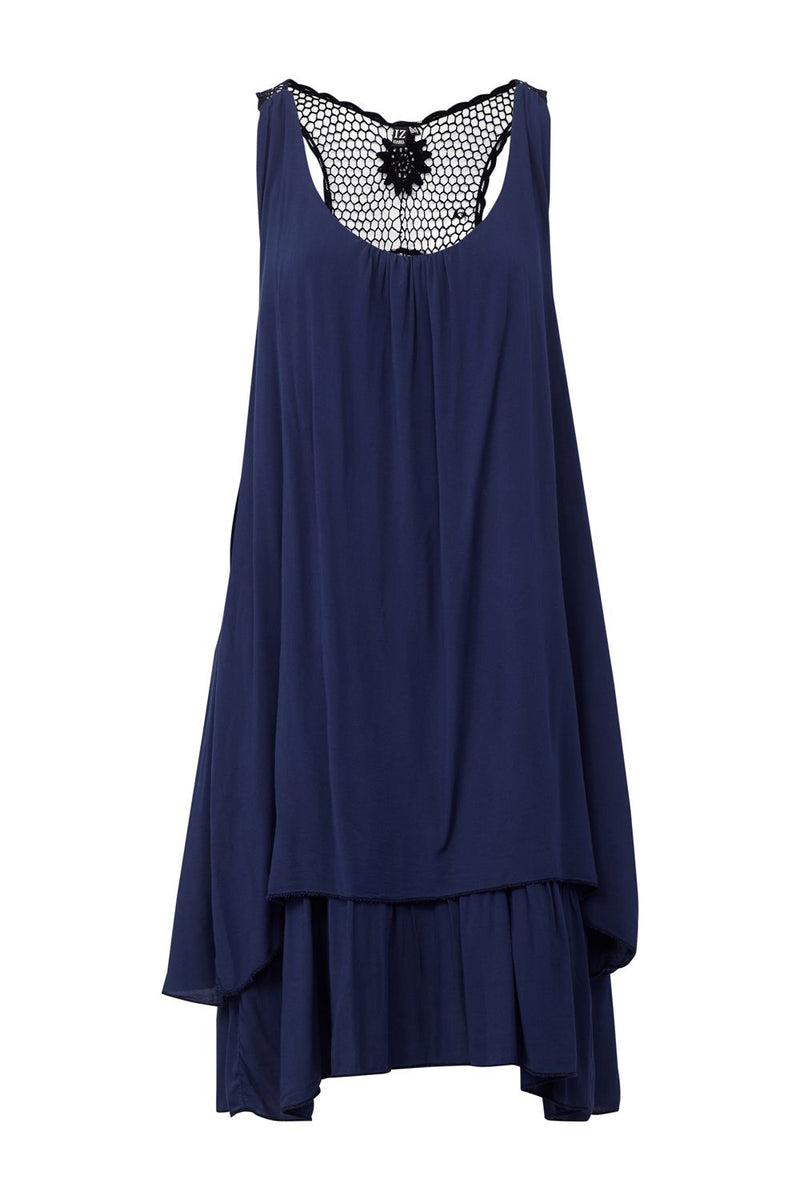 Navy | Crochet Back Sun Dress