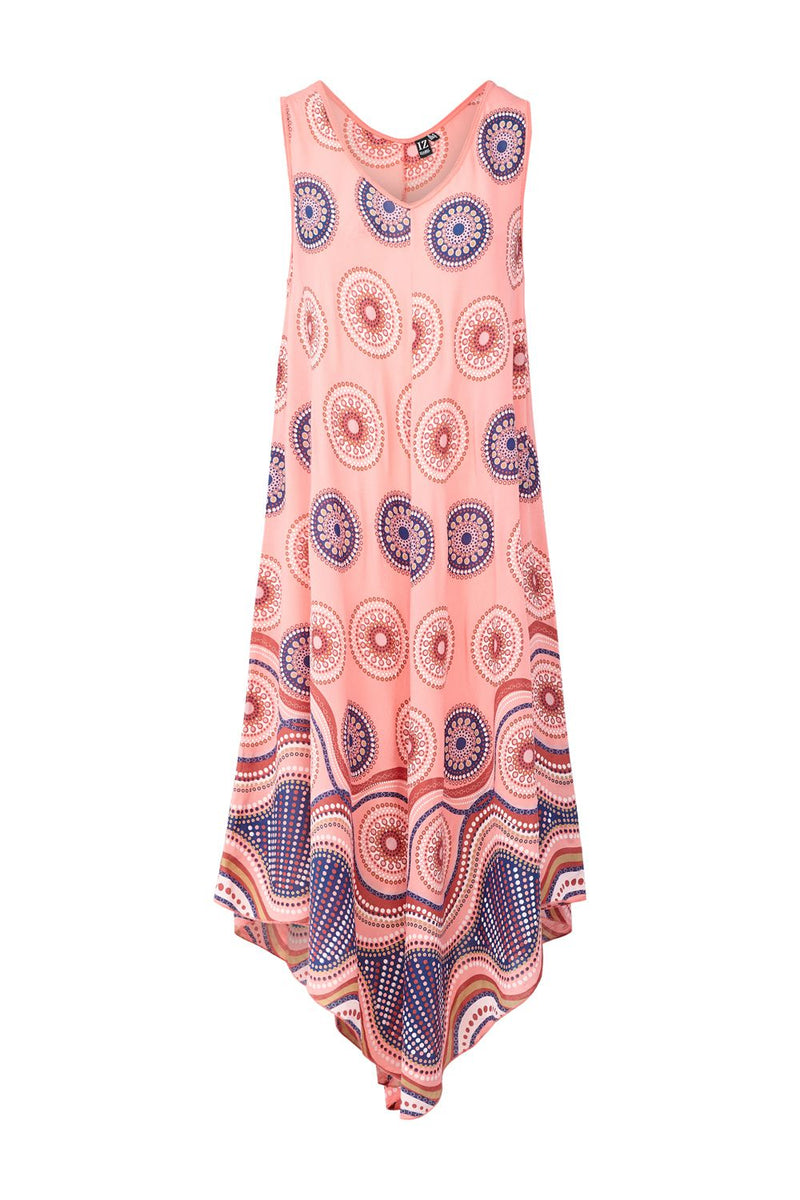 Coral | Kaleidoscope Print Midi Dress