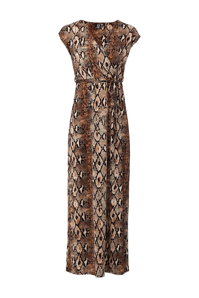 Brown | Snake Print Maxi Dress