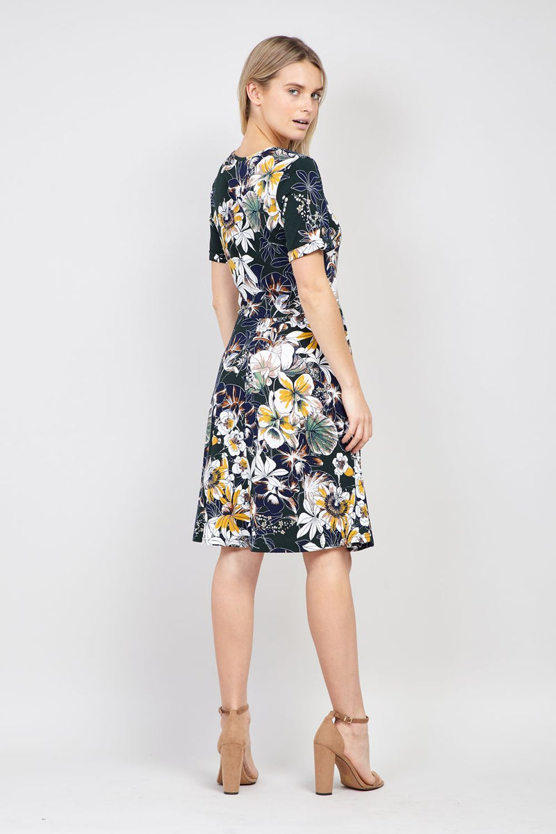 Green | Floral Short Sleeve Tea Dress