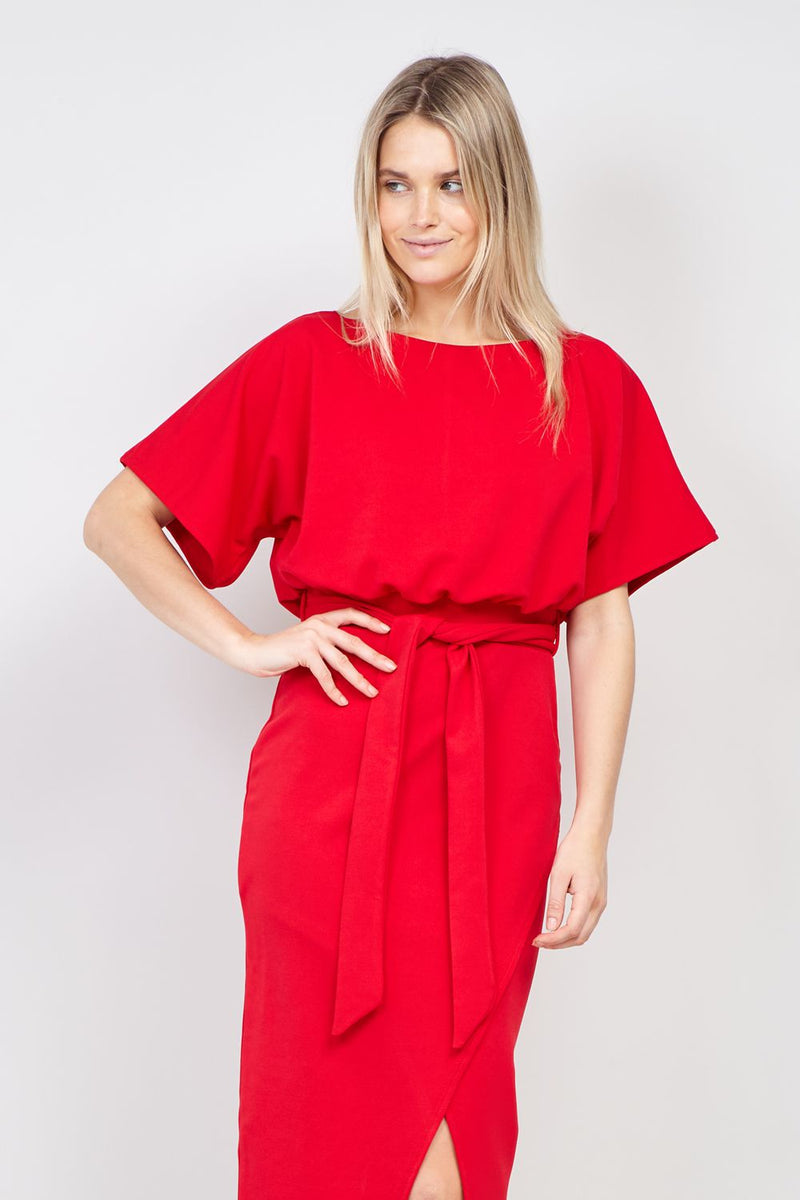 Red | Batwing Sleeve Bodycon Dress