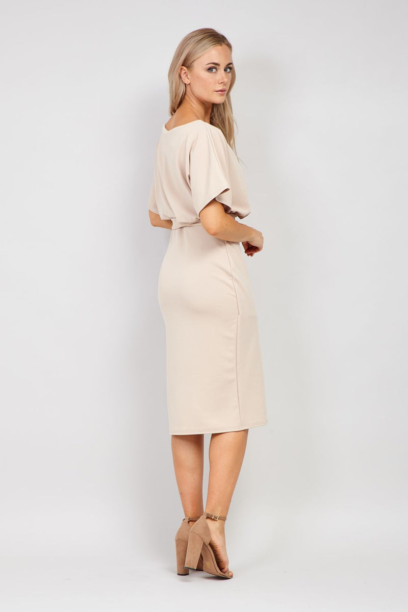 Beige | Batwing Sleeve Bodycon Dress
