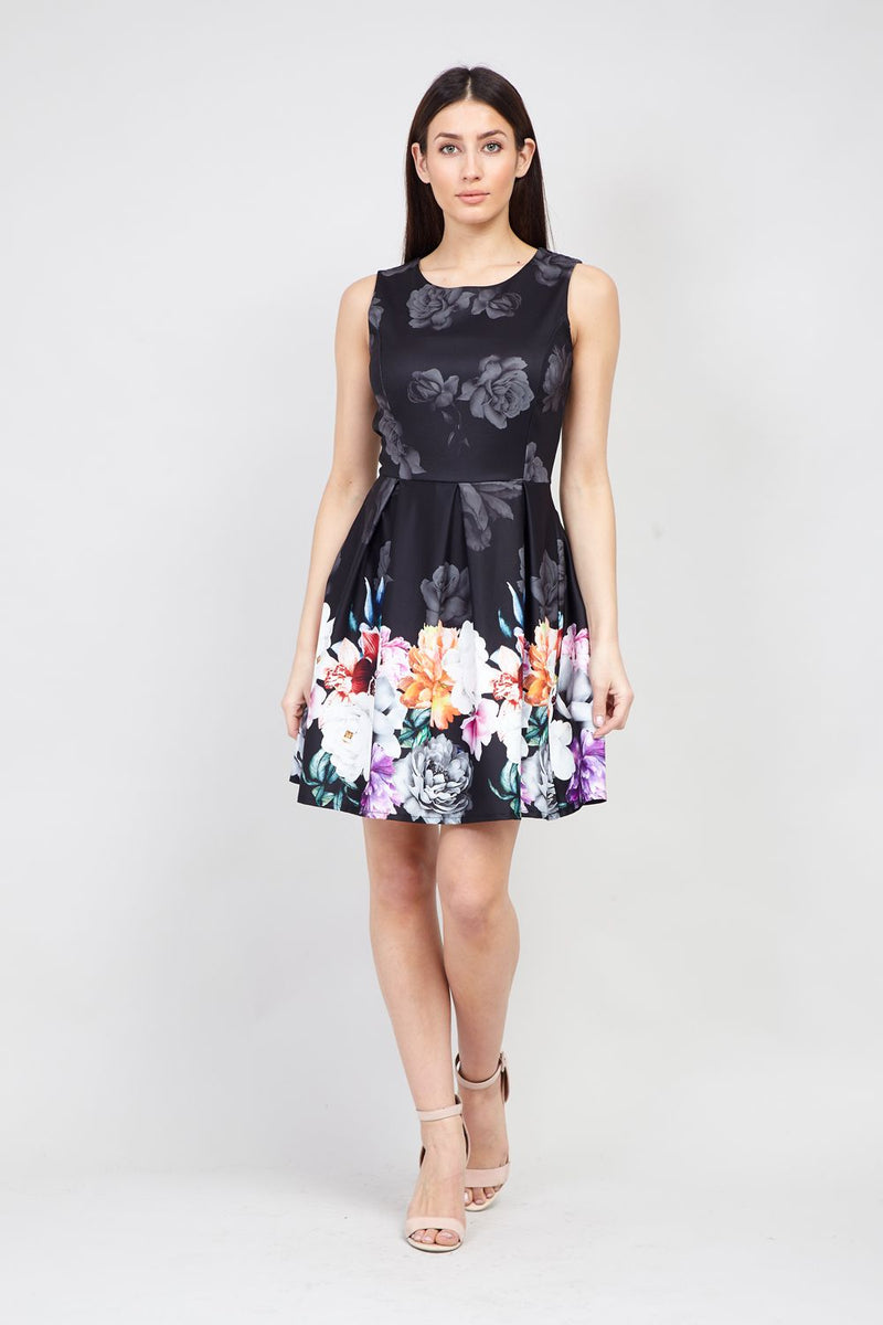 | Floral Border Print Skater Dress | Izabel London