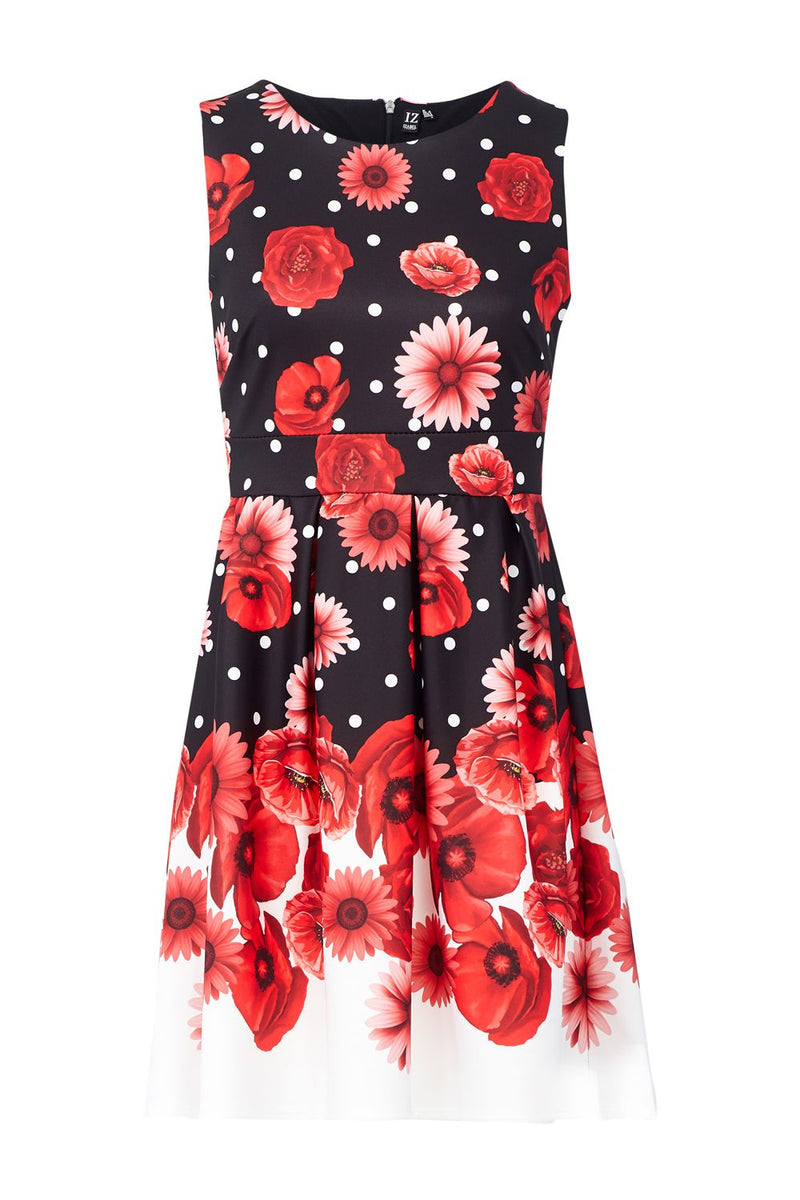 Red | Floral Fit & Flare Dress