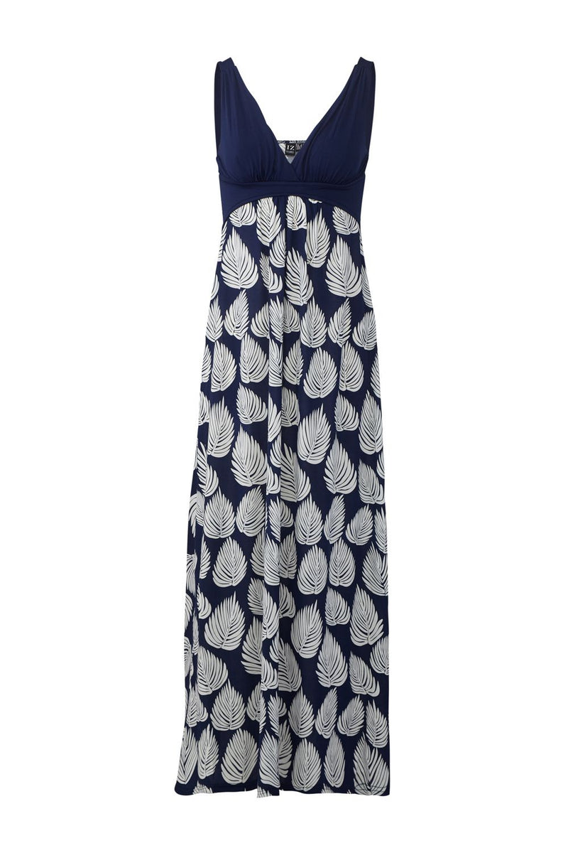 Navy | Leaf Print Maxi Dress